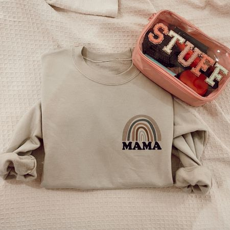 Cute Etsy finds! Travel cosmetic bag! And Mama sweatshirt.      #LTKtravel #LTKunder50