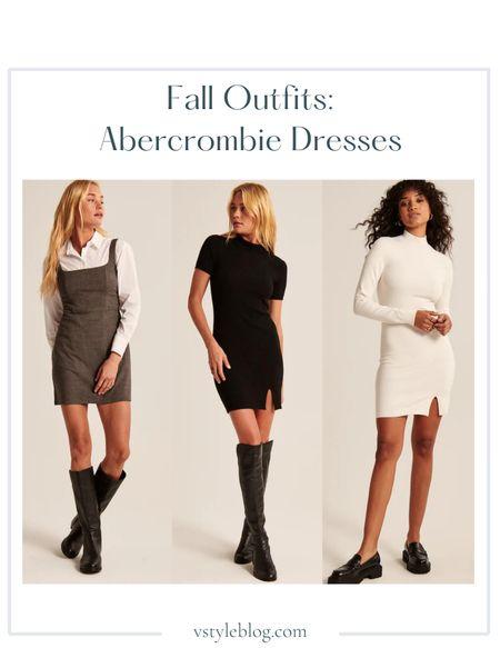 Fall outfits, Work wear, Teacher outfits, Fall family photos, Mini dress, Sweater dress, Mock neck dress,   Abercrombie  90s Menswear Pinafore Dress ($69) Mockneck Mini Sweater Dress in Black ($69) Mockneck Mini Sweater Dress in Ecru ($59)  #LTKSeasonal #LTKSale #LTKunder100