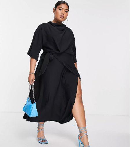 Gorgeous plus-size black dress with split. Talking about a show stopper 🤩🤩 #blackdress #plussize #weddingseasson   #LTKwedding #LTKstyletip #LTKcurves