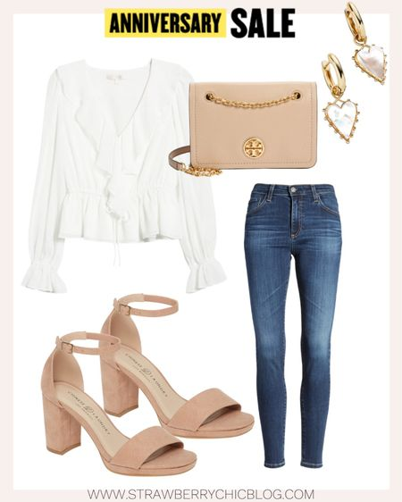 This gorgeous white ruffle top could pair with jeans, a skirt, work pants etc. Love creating a elevated, casual look for a night out with friends here. #LTKSeasonal   #LTKshoecrush #LTKstyletip