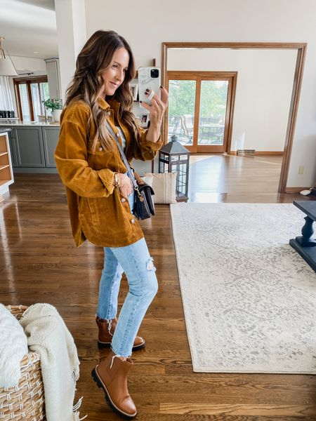 Fall perfect outfit!! Corduroy shacket. Vintage jeans. Booties. Grab while part of the LTK app sale!  @madewell  XS shacket Boots TTS  #LTKunder100 #LTKSeasonal #LTKSale