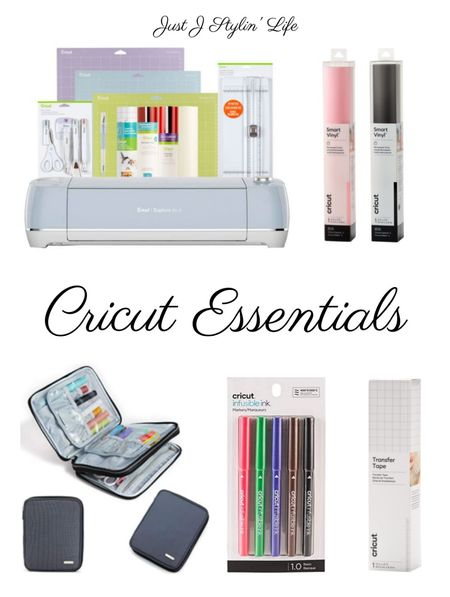 Cricut bundle & essentials. Blue Cricut Explore Air 2 machine bundle comes with a straight cutter, Cricut tools, three mats, transfer paper and vinyl. Additional essentials include permanent smart vinyl, accessories carrying bag, and infusible ink pens.  #LTKhome #LTKunder50 #LTKSeasonal