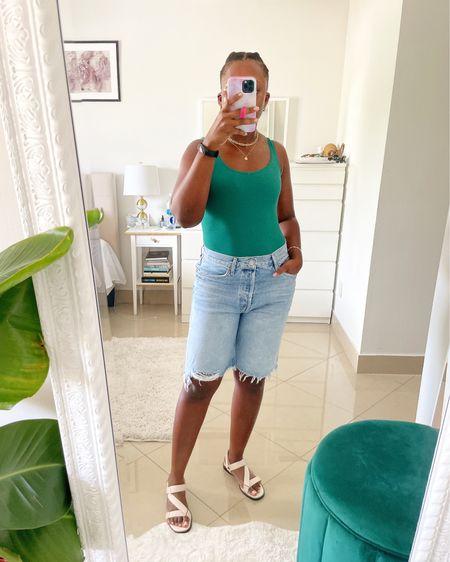 Digging the bermuda denim shorts 😂, who am I?   Shop this look via LINK IN BIO.   http://liketk.it/3k2Nq #liketkit @liketoknow.it