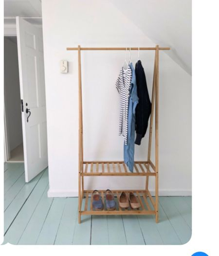 A mini wardrobe heaven! Linked bamboo clothing rack.