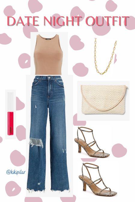 Date night outfit // body contour // wide leg jeans // Marc Fisher heels // gold necklace   #LTKstyletip #LTKsalealert #LTKunder100