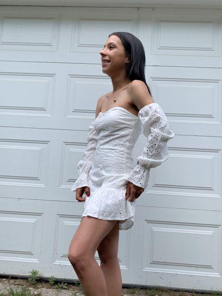 White off shoulder dress @milaraeboutique Summer dress, casual dress, outfit inspo. #liketkit @shop.ltk  #LTKstyletip #LTKunder50