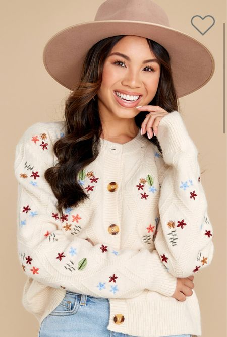 The cutest little embroidered sweater! Perfect with jeans or over dresses!
