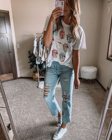 Rolling Stones tee on sale for $10 / target LONG jeans / $25 cheetah sneakers / target finds / fall outfits Xl tee 10 long jeans 11 sneakers  #LTKunder50 #LTKshoecrush #LTKstyletip