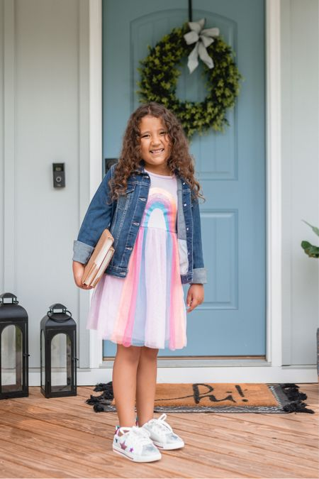 Back to school style with @walmart!! My daughter picked out this adorable rainbow tulle dress! Also comes in a shooting star! And these girls sneakers with stars are the cutest!! Shoes run a bit big. Everything else tts! Walmart finds #ad #walmart   #LTKunder50 #LTKkids #LTKfamily