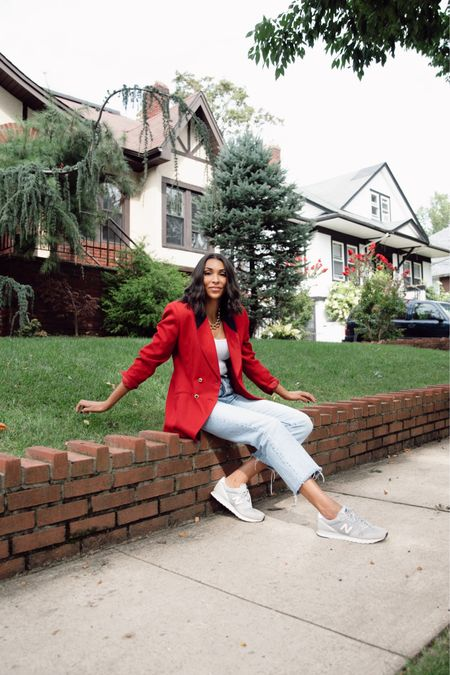 Red blazer, Jeans and sneakers http://liketk.it/2WF1d #liketkit @liketoknow.it #LTKunder50 #LTKspring #StayHomeWithLTK Shop your screenshot of this pic with the LIKEtoKNOW.it shopping app