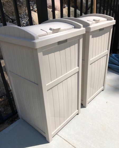 Random share but I'm excited! My girlfriend has these outdoor garbage bins on her patio and I loved them enough to order them for the pool deck! My intention is to use one for garbage and one for cans! Love that they have lids and were super easy to assemble. http://liketk.it/2R8pF #liketkit @liketoknow.it