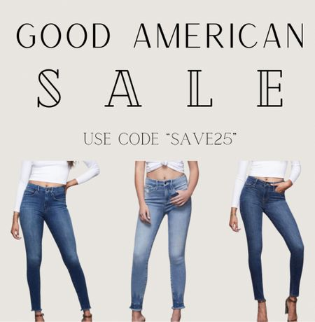 """Good American sale today!! 25% off sitewide and $99 denim. AMAZING!!! I freaking love this brand. Khloe Kardashian knows exactly how to make clothes for women! Use code """"SAVE25"""" for the 25% off!    P.S. my shoes for Avery's wedding may be linked on here 😉  www.bombshellbeads.com use code """"KIM"""" for 20% off!   #LTKsalealert #LTKunder100 #LTKSpringSale"""