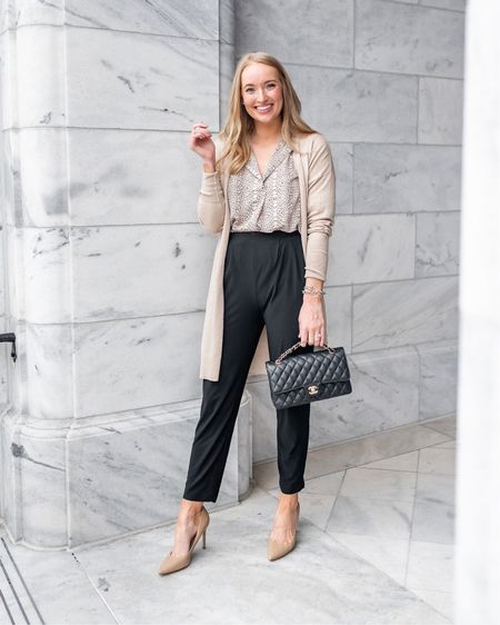 Workwear // black work pants // neutral work outfit // neutral cardigan // nude pump // nude heel   Top is from last years Nordstrom anniversary sale but I linked to their new leopard options in this years NSALE   #liketkit http://liketk.it/2Um1P @liketoknow.it #LTKworkwear