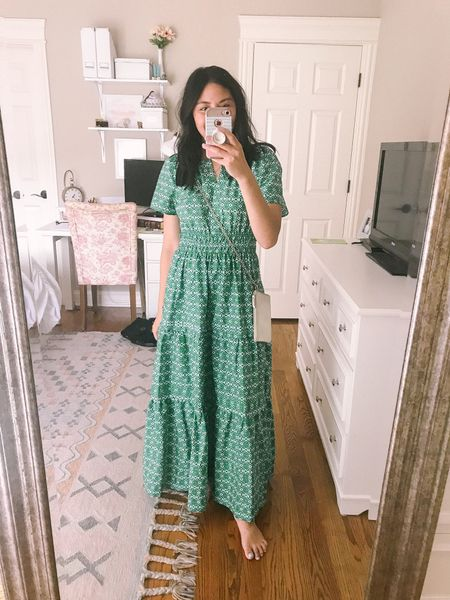 This emerald green dress is a gorgeous summer dress. Fits true to size. It's perfect for any special occasion. I wore it as a date night dress. But it's great for a wedding guest dress, bridal shower dress, baby shower dress. It's also great for postpartum too.    #LTKwedding #LTKstyletip