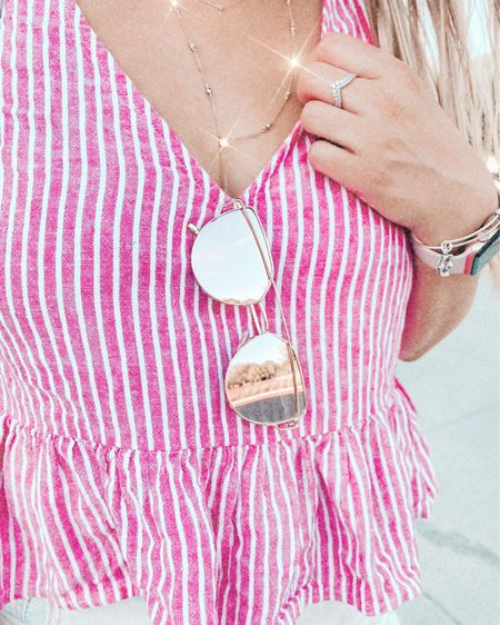 Summer feelings in this striped pink peplum top from Nordstrom Rack a couple years back 🙌🏻 these polarized Amazon sunglasses are an absolute steal (I've been dying for a pair of pink polarized gold frame sunglasses!) http://liketk.it/3bN8L #liketkit @liketoknow.it #LTKunder50 #LTKtravel  #amazonfashion #amazon #amazonsunglasses #amazonfashionfinds #amazonwomens #polarizedsunglasses #sunglassesunder20 #pinkpolarizedsunglasses #goldwireframesunglasses