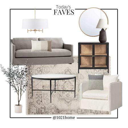 Mood board, family room, living room, sofa, chair, coffee table, lamp, olive tree, mirror   #LTKsalealert #LTKGiftGuide #LTKhome
