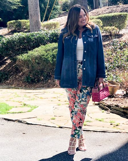 The new trend on a classic denim jacket? A longer length! ( obssessed) 😀. #gifted @lovechicos You know it is cool when your daughter has one!  Plus these Floral jeggings are everything. Excellent weight and fabulous support! My bone rock studs are under $30.00 🤯.  This is one my favorite Spring Looks! What is yours? . . . . . http://liketk.it/3bX6M #LTKSpringSale #LTKshoecrush #LTKcurves #liketkit @liketoknow.it.family @liketoknow.it.home @liketoknow.it Download the LIKEtoKNOW.it shopping app to shop this pic via screenshot