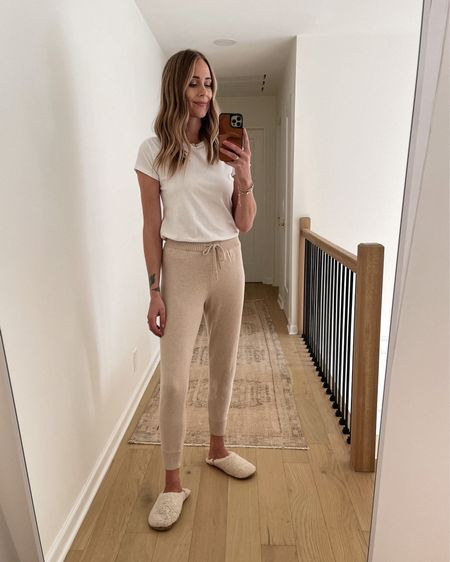 These Jenni Kayne loungewear joggers are SO GOOD. soft & comfortable. Perfect for lounging at the house or adding sneakers and a denim jacket for a casual weekend fall outfit   #LTKstyletip #LTKunder50 #LTKunder100