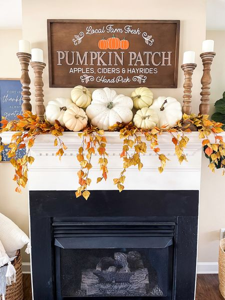 I'm styling my mantle for Fall. Fall home decor pumpkin patch sign pumpkins #LTKfall   #LTKhome #LTKSeasonal