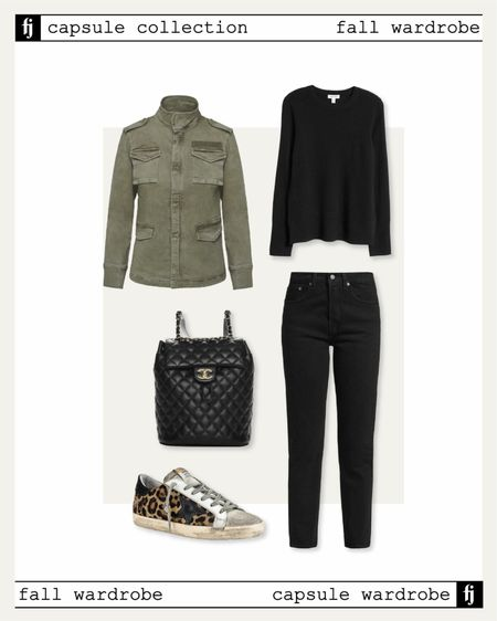 Fall capsule wardrobe. Utility jacket with black sweater black jeans and leopard golden goose sneakers for a casual fall outfit idea   #LTKunder50 #LTKstyletip #LTKunder100