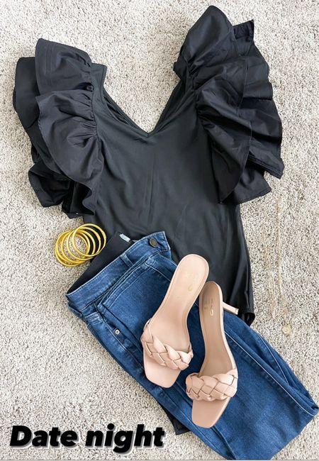 Date night look // Amazon find // body suit // dark denim skinny Jean // nude heels   #LTKunder50 #LTKstyletip #LTKshoecrush