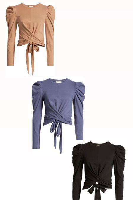 Nordstrom Open Edit Puff Sleeve Tie Back Top left in 3 colors. Tan. Black. Purple. Women's fall fashion.  #LTKsalealert #LTKGiftGuide #LTKunder50