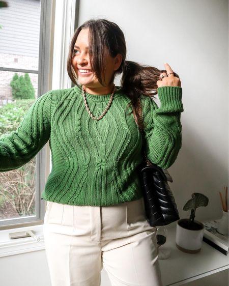 Green sweater cream Trousers   #LTKSeasonal #LTKfit #LTKunder50