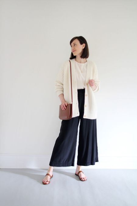 A favourite early fall look - sweaters, silk pants and sandals.   Cardigan & Sandals - Jenni Kayne - LEE15 for 15% Off anytime! T-Shirt - KOTN - Use LEEV10 for 10% Off any first order.  Silk pants - Old  Bag - A.P.C.