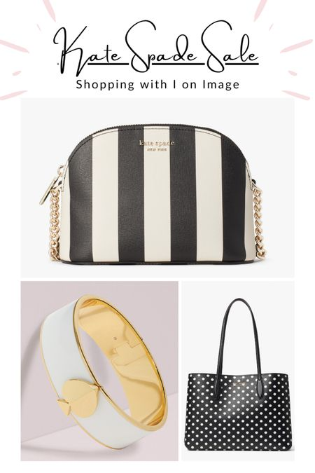 Kate Spade Summer Sale Picks:  🖤 Spencer stripe small dome-shape cross body bag with chain strap  🤍 Gold spade bangle   🖤 All-Day Domino Dot large tote set with pouch    #LTKsalealert #LTKitbag #LTKstyletip