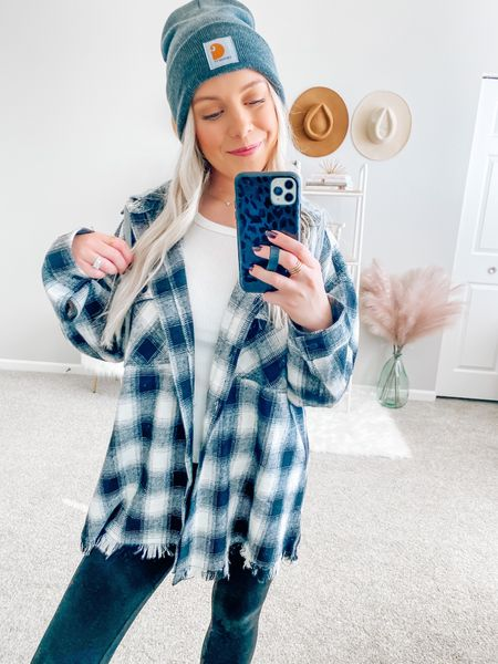 Obsessed with this plaid jacket 🖤 it comes with a hood and is still fully stocked in all sizes 🙌🏻 it's a relaxed fit and I'm wearing a size small!  Also linked my beanie, leggings and combat boots for y'all 😘  . . . Plaid top, flannel, jacket, shacket, beanie, leggings, black combat boots, boots, winter boots, fall boots, fall outfit   #LTKstyletip #LTKSeasonal #LTKunder50