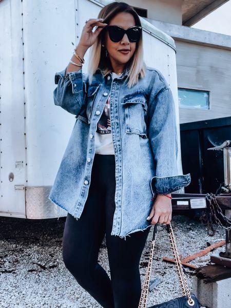 Denim Shacket, Spanx leggings, faux leather leggings, anine bing shirt, tory Burch bag, golden goose sneakers, Celine sunglasses   #LTKunder50 #LTKSeasonal #LTKstyletip
