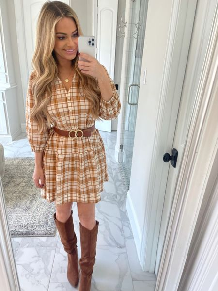 Fall plaid shirt dress, Free Assembly, Walmart fashion, brown boots, my Texas house   #LTKshoecrush #LTKSeasonal #LTKworkwear