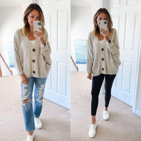 Best selling oversized cardigan on the blog!  Fall fashion, casual wardrobe, comfy, faux leather leggings, affordable fashion, amazon fashion, teacher outfits  #LTKSale #LTKsalealert #LTKshoecrush