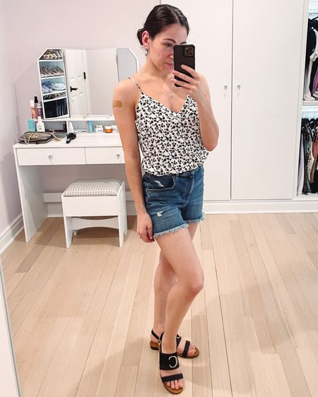I love this pretty spring or summer outfit and it's all on sale. The pretty black and white floral cami and mom shorts are from express and the Chloé sandals are also on sale. http://liketk.it/3crKc @liketoknow.it #liketkit #LTKSpringSale #LTKunder50 #LTKshoecrush