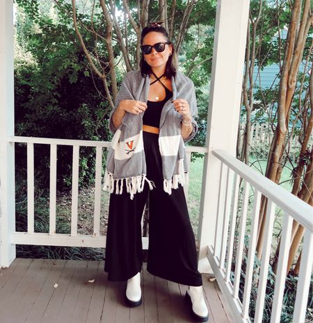 Game day outfit. Fall football outfit. Fall outfit. Petal and pup pants. Revolve crop top. Rebecca Piersol style.   #LTKstyletip #LTKSeasonal #LTKunder50