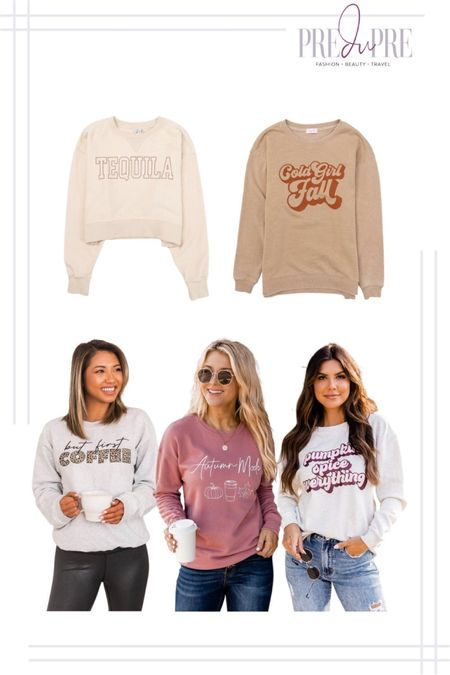 Whether it's coffee, pumpkin spice, or tequila - these cute Pink Lily sweatshirts are sure to keep you warm in the fall weather. All for under $50 (except Tequila design)  Lounge wear, sweatshirt, sweater, fall outfit, ootd, ootd ideas, outfit ideas, fall wear, casual wear   #LTKstyletip #LTKunder50 #LTKSeasonal