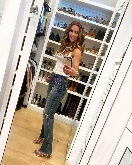 GNO #ootn from last night for sushi with sweet friends🤍  This tank has such a great fit & super soft feel too + it's NOT SEE THRU either!   And even comes in 6 other colors too! I sized one size to a M for a little bit of a looser fit.   Denim is my Fav Vintage Straight Leg Jean that everyone needs for Spring (& runs TTS wearing a 26)!   + I even linked some Tank & Denim Shoe Dupes too!   You can instantly shop my looks by following me on the LIKEtoKNOW.it shopping app @liketoknow.it http://liketk.it/3buxy #LTKunder100 #LTKstyletip #LTKbeauty #liketkit
