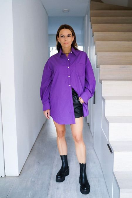 Purplicious cotton oversized shirt, the BEST aux leather shorts and platform stomping boots 💜