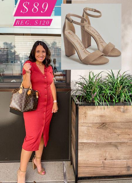 Socialite midi dress and Sam Edelman Yaro heels that are on Sale for $89 regular $120!!! Dress runs tts and $59. #shoecrush   #LTKSale #LTKunder100 #LTKsalealert