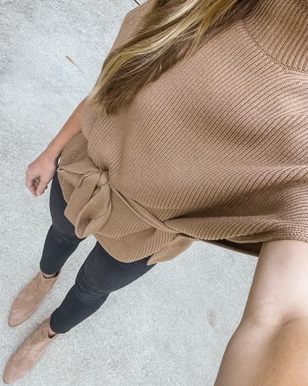 Simple neutral fall outfit 🍂 Sweater is old Max Mara Leisure (called the 'Fulmine'). Similar under $100 linked. Jeans run small, size up one. Tan chelsea boots run true to size.  #wrapsweater #tansweater #blacklevis #leviswedgie #chelseabooties #neutralfalloutfit