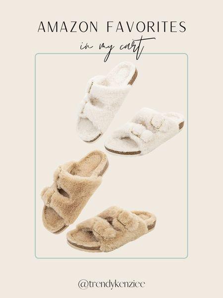 Fur Slides / Birkenstock's / Amazon Finds / Amazon Shoe Finds    #LTKunder50 #LTKshoecrush #LTKtravel