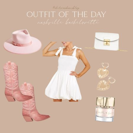 ok how cute is this for a country concert or Nashville bachelorette!!! little white dress Pink cowboy boots pink fedora wide brim hat white clutch heart earrings Neutral nail polish bride to be Bridal shower Rehearsal dinner fall outfit   #LTKunder100 #LTKunder50 #LTKwedding