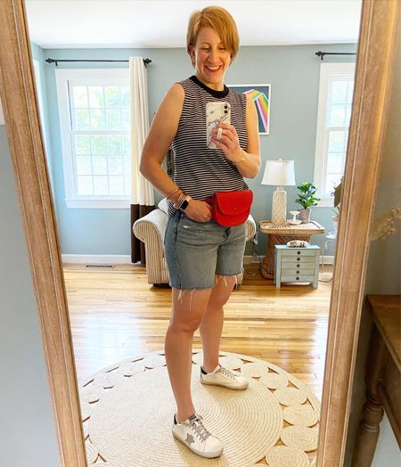 Top is older Everlane. Belt bag is Madewell (look on Poshmark!) Shorts and sneakers (in grey/black) TTS