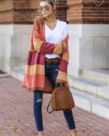 http://liketk.it/2YMfw @liketoknow.it #liketkit red dress boutique, striped cardigan, cardigan