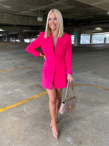 Hot pink blazer dress! Size: XS Parking garage   #LTKunder100 #LTKwedding