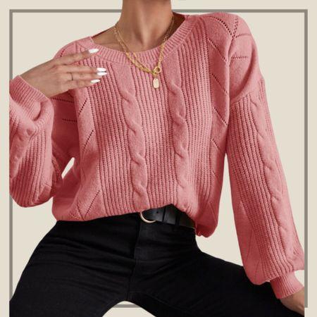 Cable knit drop shoulder sweater   #LTKunder50 #LTKstyletip