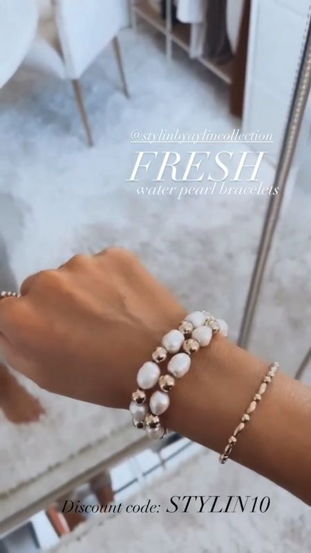 Stylin by Aylin Collection, 14k gold filled jewelry, fresh water pearl, oval mixed bracelet, summer collection, summer jewelry, everyday jewelry  #LTKSeasonal #LTKunder100