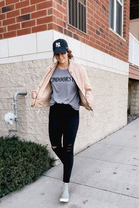 Fall baseball hat outfit with shacket  #LTKunder50 #LTKfit #LTKstyletip
