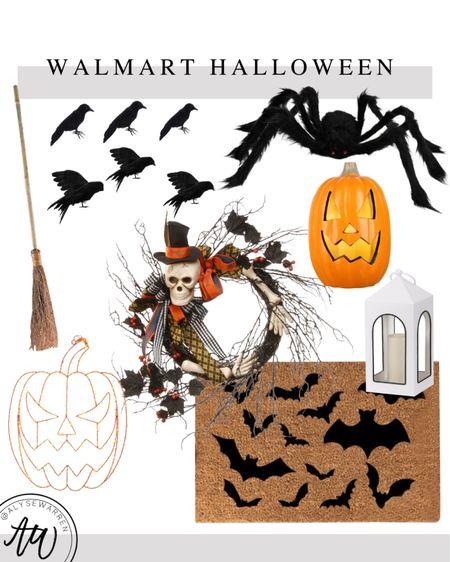 Halloween decor available at Walmart!  Which broomstick, front porch, Halloween yard art, doormat, Halloween wreath, outdoor lantern, jack-o-lantern, large spider decor, crows, mantel decor, bats, home decor, Walmart Home  #LTKSeasonal #LTKhome