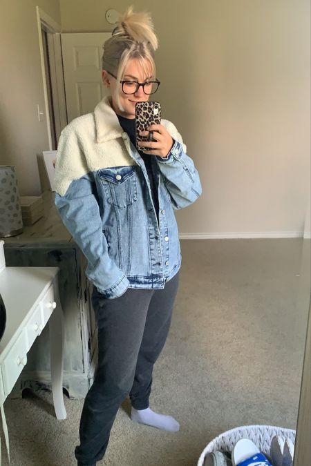Sherpa jean racket. Winter outfit. Fall outfit.   #LTKstyletip #LTKunder50 #LTKsalealert